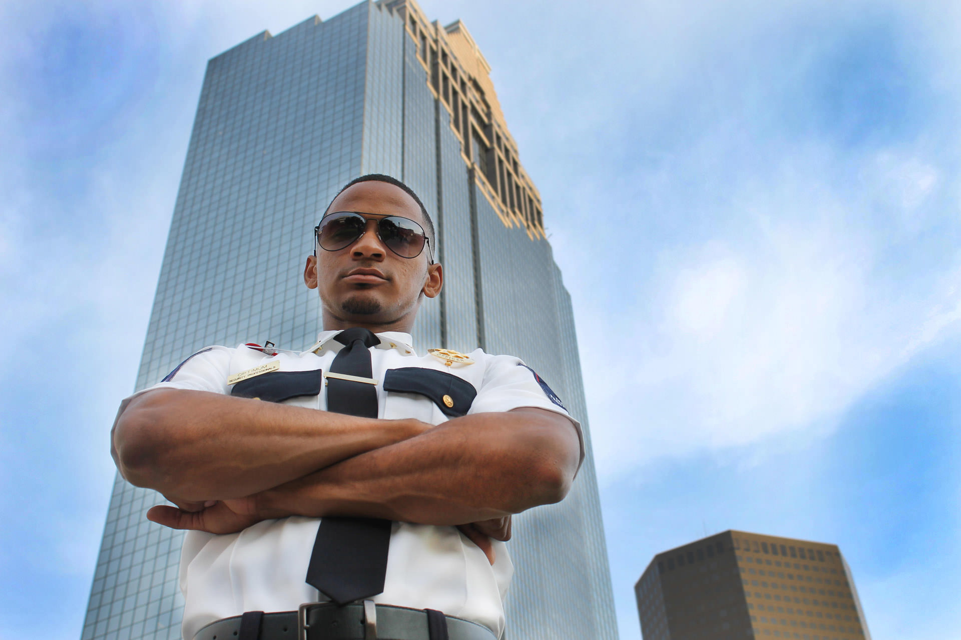 Optimum security guard protecting an office building.