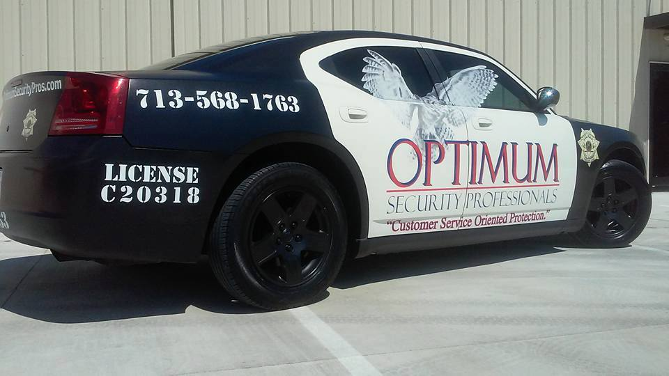 Optimum Security Professionals patrol car. Used by Optimum's security patrol guards.