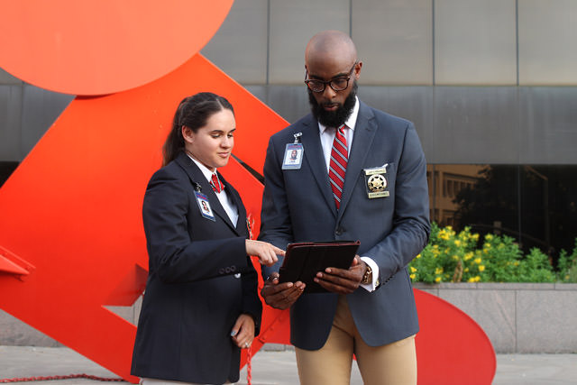 Houston Commercial Security Services - Optimum Security Guards outside of commercial building